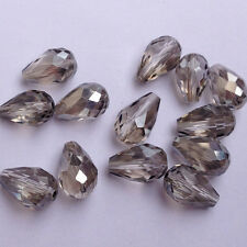 20pcs Faceted Teardrop glass crystal Charm Finding Loose Spacer beads 8x12mm,###