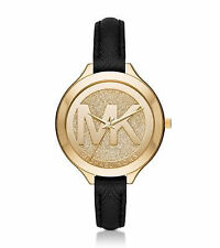 Michael Kors Slim Runway Gold Dial Black Saffiano Leather Ladies Watch MK2392