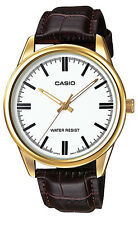 Casio MTP-V005GL-7A Men's Standard Gold Tone Leather Band Analog Dress Watch