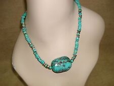 VINTAGE NATIVE AMERICAN OLD PAWN STERLING & TURQUOISE NUGGET NECKLACE!