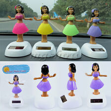 4 PCS Solar Powered Dancing Hula Girl Swinging Bobble Car Decoration Toy Gift
