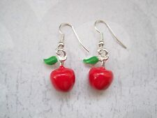 *3D RED APPLE GREEN LEAF* ENAMEL SP Earrings Rockabilly Cute Teacher Gift Bag