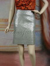 $2995 New JIL SANDER Silver Pewter Sequin Stretchy Wool Pencil Skirt 40 10