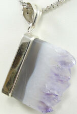 Sterling Silver Pendant Natural Amethyst Crystal Slab Popcorn Necklace