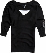 New! Fox Racing Ladies Large Game on Sweater V-Neck Black
