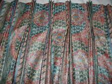 """Custom Made Mill Creek Pinch Pleat Tea Rose & Teal Print Drapes  W 59""""-60 L 82"""""""