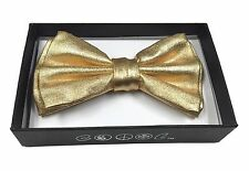BEYONDFASHION MEN WOMEN  NECKWEAR TUXEDO ADJUSTABLE BOW-TIE SILK METALLIC GOLD