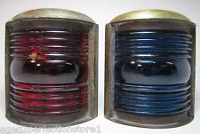 Old Pair Nautical Ships Lanterns Brass with Blue and Red Glass boat lamps lights