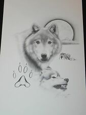 Art Print Wolf Wolves Full Moon Paw Pencil Signed Mark Powers Print 17x11 1992