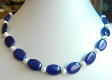 """AAA New Beautiful 13x18mm Oval Sapphire & Natural Pearl Necklace 18"""""""