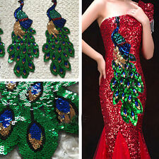 New Paillette Sequin Beauty Peacock Embroidery Applique Patch Sew On Clothes