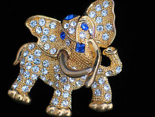 GOLD BLUE RHINESTONE ANIMAL MAMMAL AFRICAN ASIAN DANCING ELEPHANT PIN BROOCH