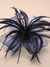 Navy Blue Looped Net & Feather Fascinator Wedding Races Hair Clip Corsage Brooch