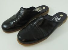 Jet Black Patent Leather Flat Mules Slides Size 5 M
