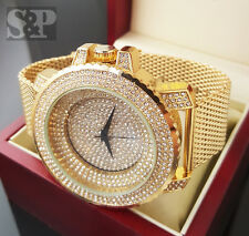 Men Rick Ross Bling Iced Out Gold Plated Stainless Steel Mesh Band Rapper Watch