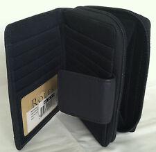 Rolfs Ladies Soft Leather Tab Zip Around Organizer Attaché Navy Blue Wallet
