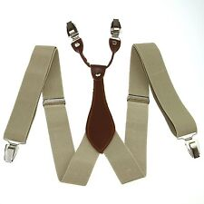 Beige Suspenders Adjustable Belts Y-back Braces Clip-on Unisex Men Women BD601