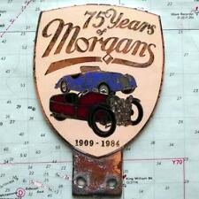 Vintage Heavy Chrome Enamel Car Mascot Badge : Morgan 75 Year Anniversary