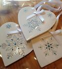 3 X Handmade Shabby Chic Christmas Decorations Frozen Snowflake Silver Blue