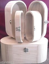 SET 3 in1  PLAIN WOOD OVAL VANITY BOXES TRINKET/ JEWELLERY ART CRAFT DECOUPAGE