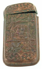 ANTIQUE EARLY VICTORIAN COPPER MATCH CASE SAFE LADY MAN GAZEBO VESTA NOVELTY