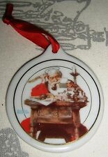 JC PENNEY 1996 Porcelain Ceramic NORMAN ROCKWELL Santa Reading Letters ORNAMENTS