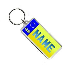 Personalised Name Yellow Licence Number Plate Acrylic Plastic Bag Tag Keyring