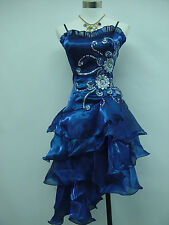 Cherlone Blue Prom Ball Evening Bridesmaid Knee Length Party Formal Dress 12-14