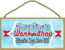 "Retro Style Santa's Workshop Christmas Holiday Sign 5""x10"""