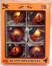 Box of 6 Shiny Brite Halloween Radko Mercury Glass Ornaments NIB