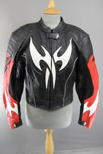 HEIN GERICKE PRO SPORTS BLACK, RED & WHITE LEATHER BIKER JKT + CE ARMOUR SIZE 12