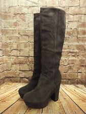 Ladies Bertie Grey Suede High Heel Platform Long Boots Size UK 5
