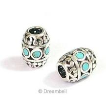 1x Sterling Silver Focal Barrel Bead With Turquoise Stone SPB418b