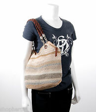 NWT The Sak Indio Satchel Crochet Sand Stripe Beige Tote Hand Bag Zip Top NEW