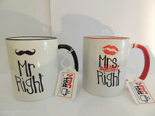 Mr and Mrs Right - Funny Mug - Cup - Gift - Unique Design - Set of 2