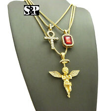 Hip Hop Iced Out Ankh, Red Ruby, Praying Angel Pendant 3 Necklace Set SPRC2136