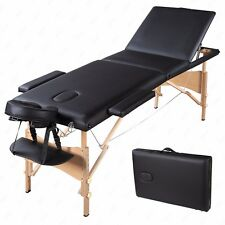 """Portable 84""""L 3 Fold Massage Table Facial SPA Bed Tattoo w/Free Carry Case Black"""