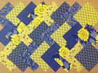 COTTON FABRIC PATCHWORK SQUARES PIECES CHARM PACK 2, 4 & 5 INCH ~ BLUE / YELLOW