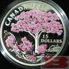 CHERRY BLOSSOMS CELEBRATION OF SPRING $15 3/4OZ 2016 PURE SILVER COIN CANADA.