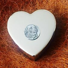 Silver Plated Trinket Pill Jewellery Box, Antique Pewter Golden Retriever Dog