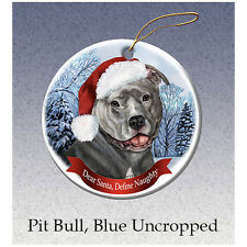 Pit Bull Blue Uncropped Howliday Porcelain China Dog Christmas Ornament