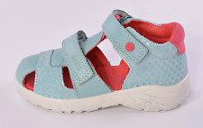 Ecco Peekaboo Fisherman Infant Girls Aqua Blue Leather Sandals UK 6 EU 23