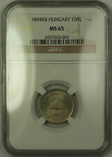 1894-KB Hungary 10 Filler Coin NGC MS-65 GEM BU