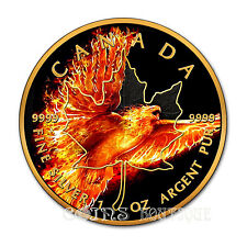 BURNING EAGLE 1 oz MAPLE LEAF  Silver Coin Ruthenium and 24K Gold 2016