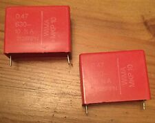 2 PCS 0.47uF / 630V WIMA MKP10 POLYPROPYLENE CAPACITORS. NOS. GOOD FOR AUDIO