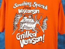 vtg 80s SOMETHING SPECIAL FROM WISCONSIN VENISON CARTOON DEER T-Shirt XL thin