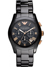 Emporio Armani Ceramica AR1410 Rose Gold Chronograph Watch Black Ceramic NIB WOW