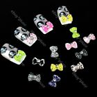 Lot 100 3D Mix Color Acrylic Rhinestone Bow Tie Glitters Nail Art DIY Decoration