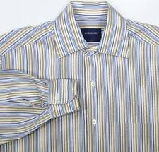 *LORENZINI* Handmade in Italy Blue/Brown Striped Dress/Casual Shirt~ Small