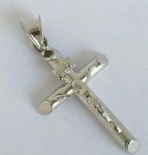 14k solid white Gold INRI Jesus christ Crucifix Cross Pendant 1.25 inches long
